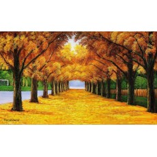 Golden Yellow Tree Mural