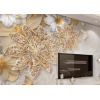 Glittering cream Flowers Wall Mural