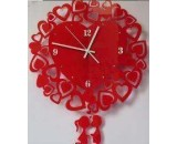Acrylic Red Heart Clock
