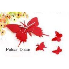 Acrylic Red Butterfly Clock